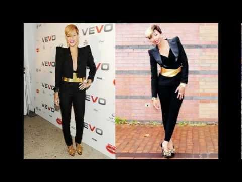 Style Dupe: Rihanna Black Jumpsuit, Power Shoulder Blaze and Gold Belt.