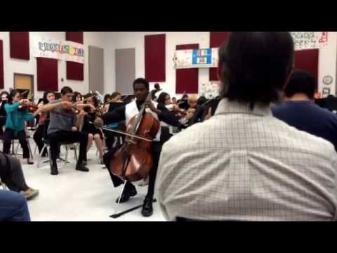 Cello solo at Jefferson High School symphony orchestra practice for UIL competition.