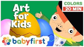 Surprise Eggs Art for Kids   20 Minute Colors Compilation   Li'l Vinnie's Art   BabyFirst TV