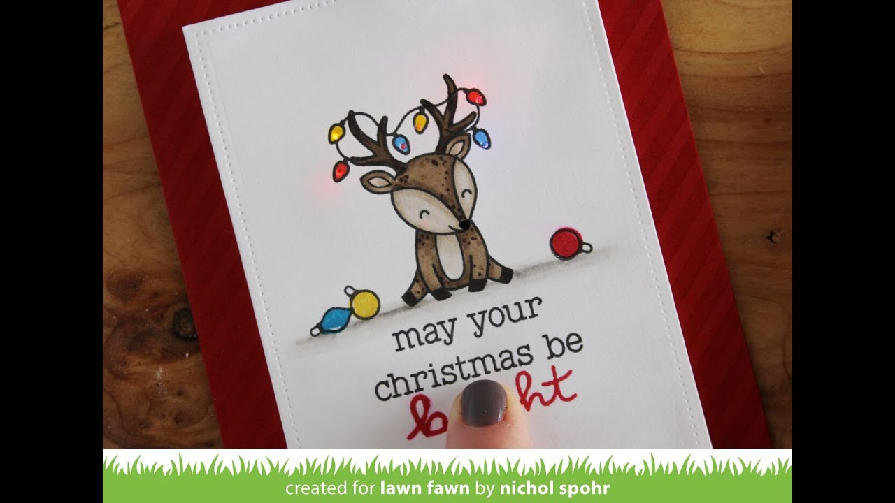 Lawn Fawn Cheery Christmas Light Up Christmas Card Youtube