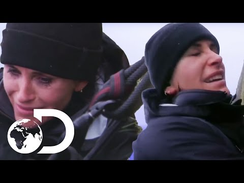 Courteney Cox Abseils Off the Edge Of A Cliff   Running Wild with Bear Grylls
