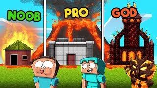 Minecraft - VOLCANO BASE CHALLENGE! (NOOB vs. PRO vs. GOD)