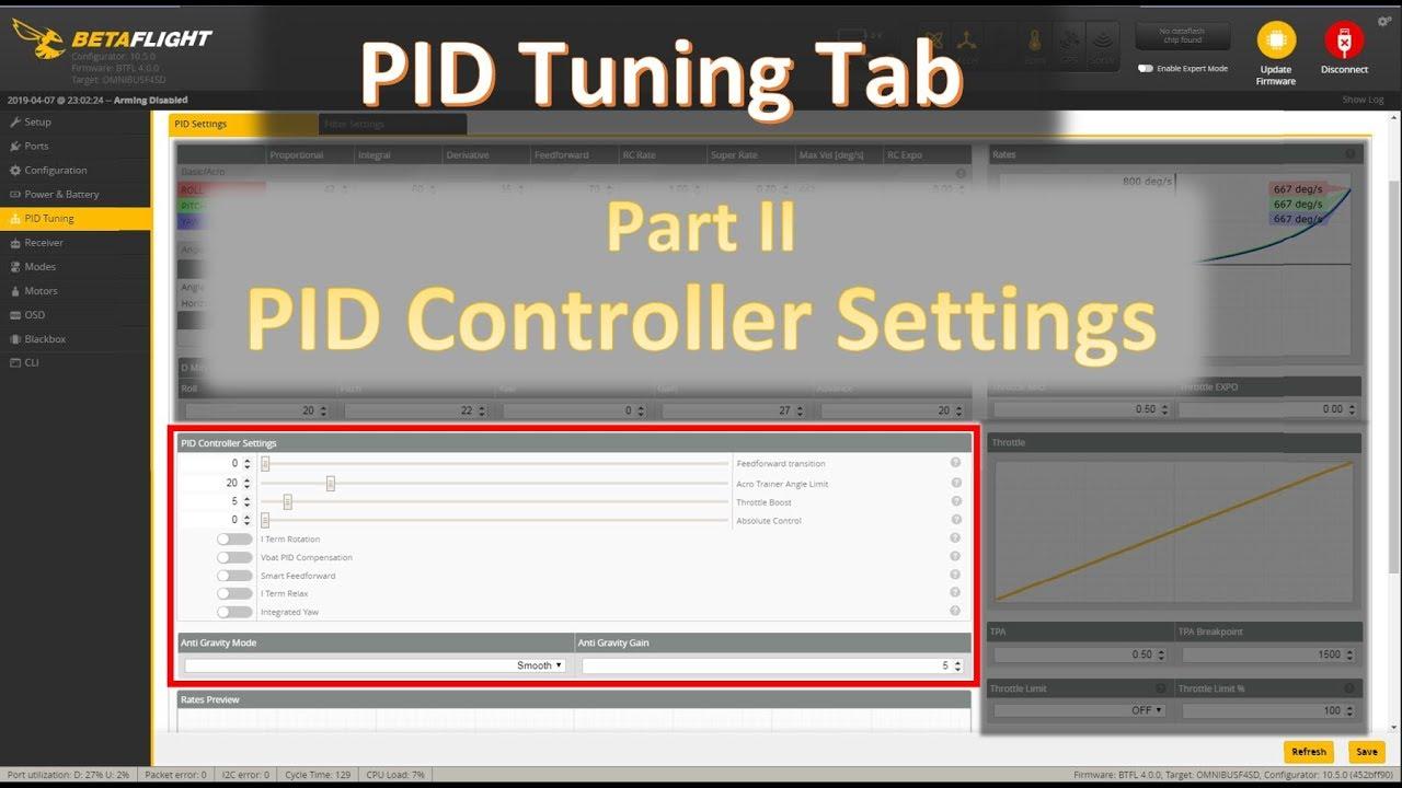 Betaflight PID Tuning tab: PID Controller Settings