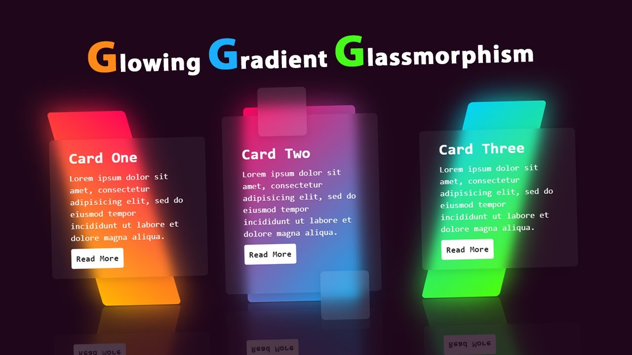 CSS3 Glowing Gradient Glassmorphism Card Hover Effects | Glass Morphism
