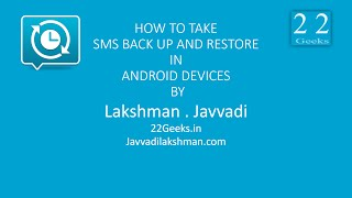 How To Back Up and Restore Sms's In Android Devices