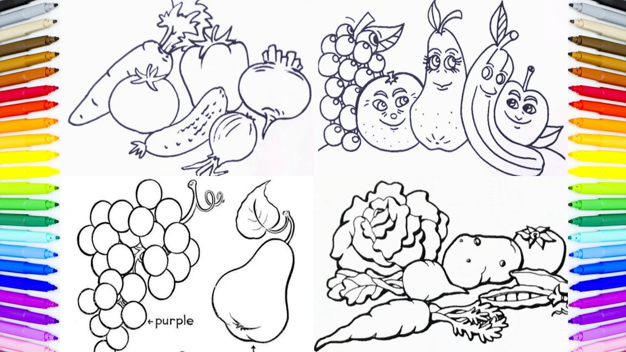 Fruits Vegetables Coloring Book Fun Painting How To Paint Fruits Coloring Pages Youtube
