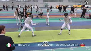 2018 1234 T128 M F Individual Halle GER European Cadet Circuit YELLOW EIDENMUELLER GER vs TROIANI IT
