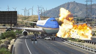 Air Force One 747 Emergency Landing Crash On Highway | GTA 5