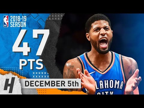 Paul George NASTY Highlights Thunder vs Nets 2018.12.05 - 47 Pts, 15 Reb, GAME-WINNER!