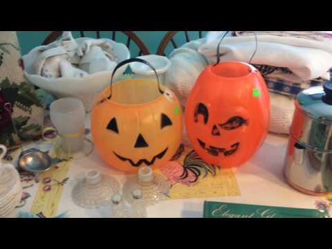 Vintage Thrift Haul #21 Depression Glass, Books, Linens, Halloween & More!