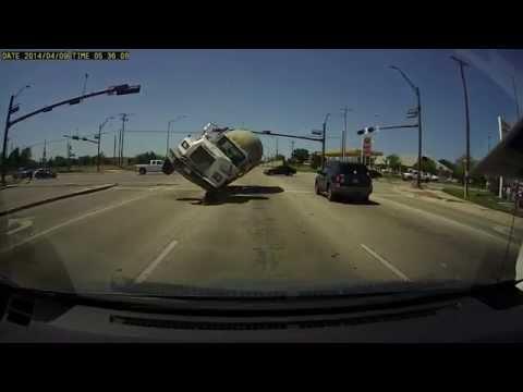 Dashcam captures incredible cement truck crash