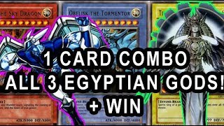 YUGIOH 1 CARD COMBO TO SUMMON ALL 3 EGYPTIAN GOD CARDS AND INSTANTLY WIN! (Holactie GOD CREATOR FTK)