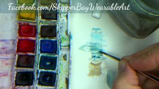 Hand painted ocean necklace miniature painting
