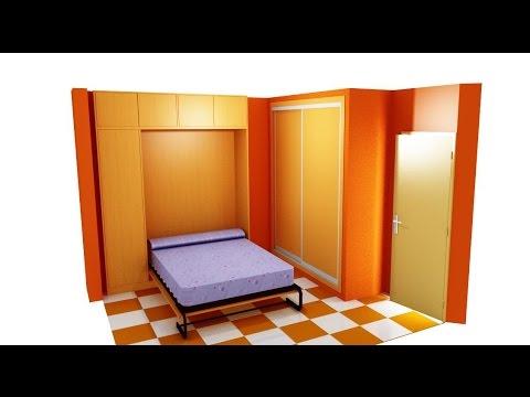 como hacer una armario con cama abatible - YouTube