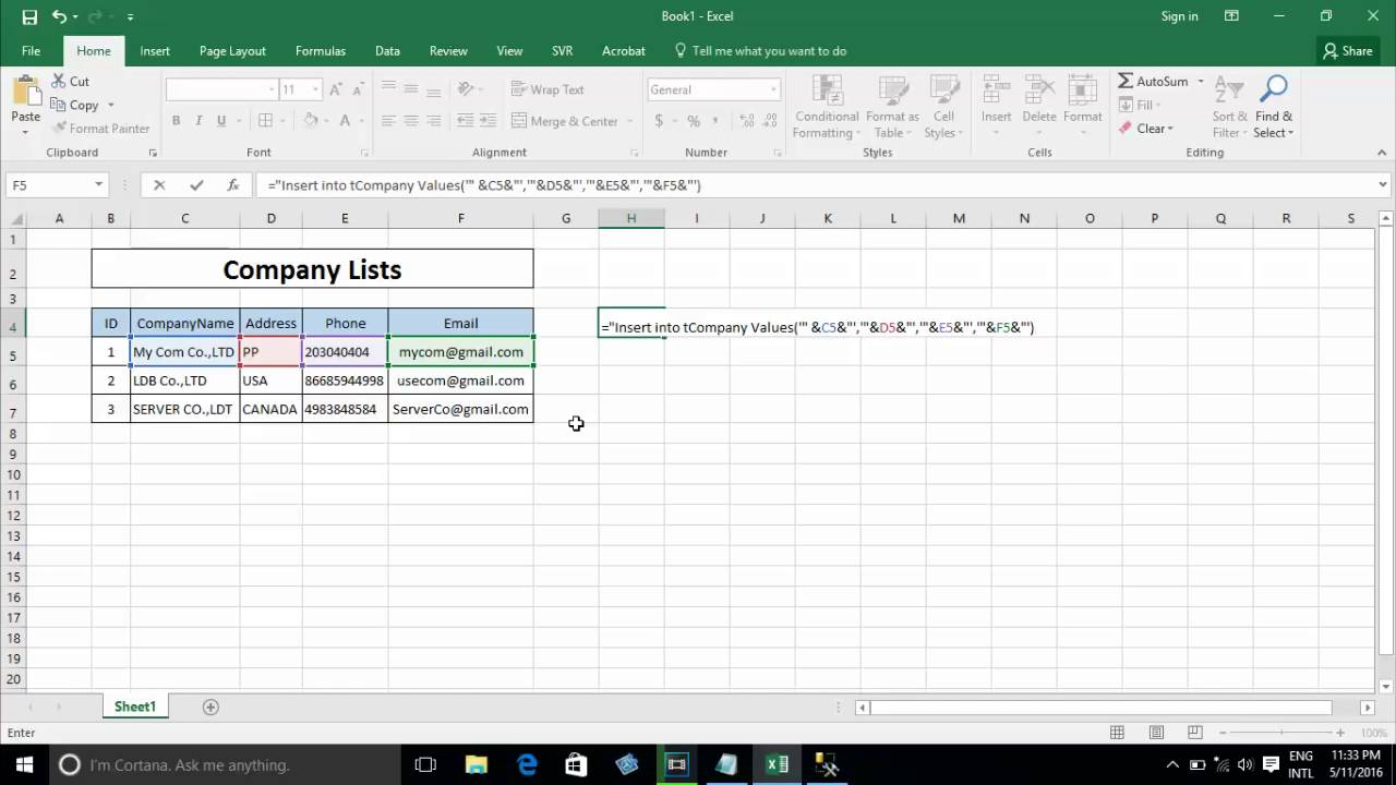 insert pdf into excel 2016