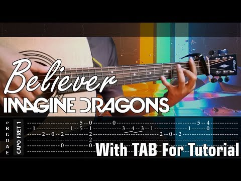 Tab Tutorial On Screen - Believer - Imagine Dragons - Cover (Fingerstyle Cover)