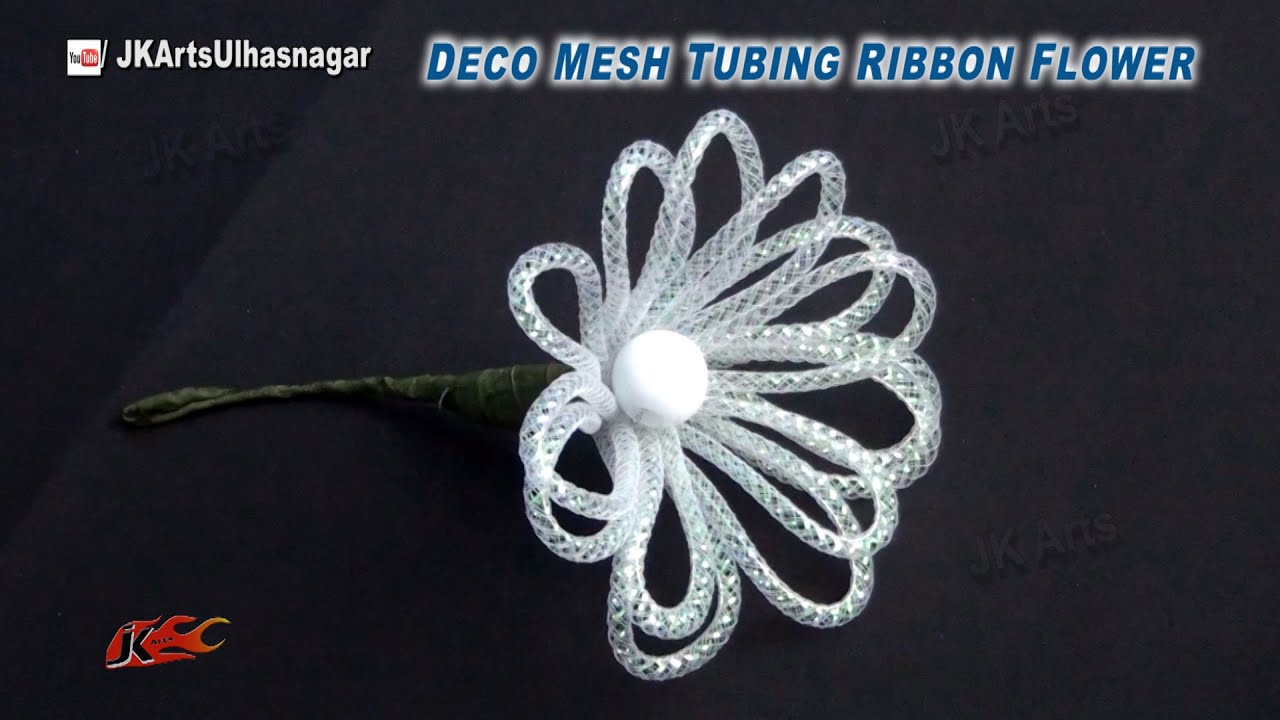 DIY Deco Mesh tubing ribbon flower | How to make | JK Arts 830 - YouTube