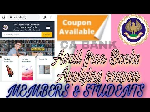 ICAI CDS PORTAL APPLY COUPON GET BOOKS FREE  | ICAI CDS PORTAL STUDENTS AND MEMBER S APPLY COUPON |