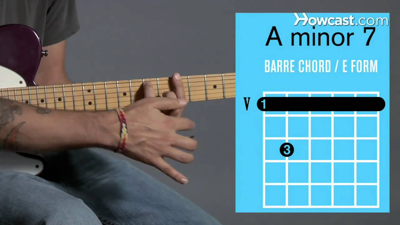 How To Play An A Minor 7 Barre Chord Guitar Lessons Youtube