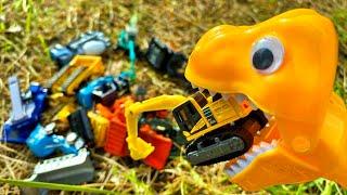 恐竜さんが働く車(はたらくくるま)をお口で捕まえるよ 飛び出す車のおもちゃをトラックにならべよう Dinosaurs catch car toys by mouth