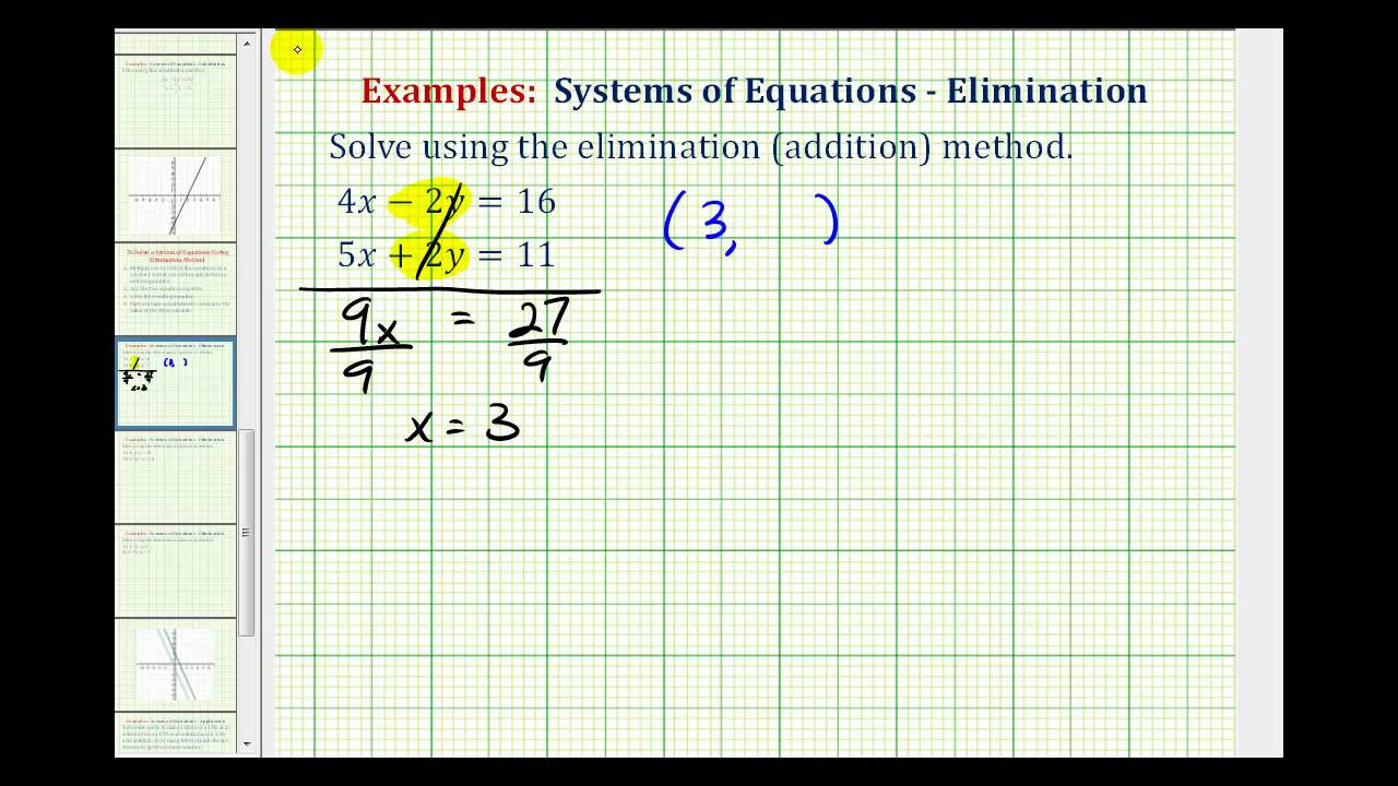 Systems of Equations - Elimination (examples, solutions ... on
