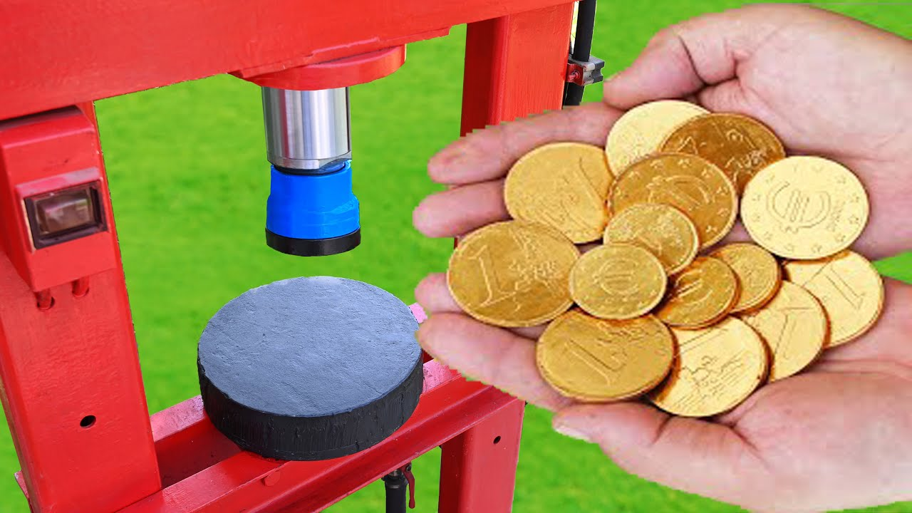 EXPERIMENT GOLDEN CHOCOLATE COINS VS HYDRAULIC PRESS