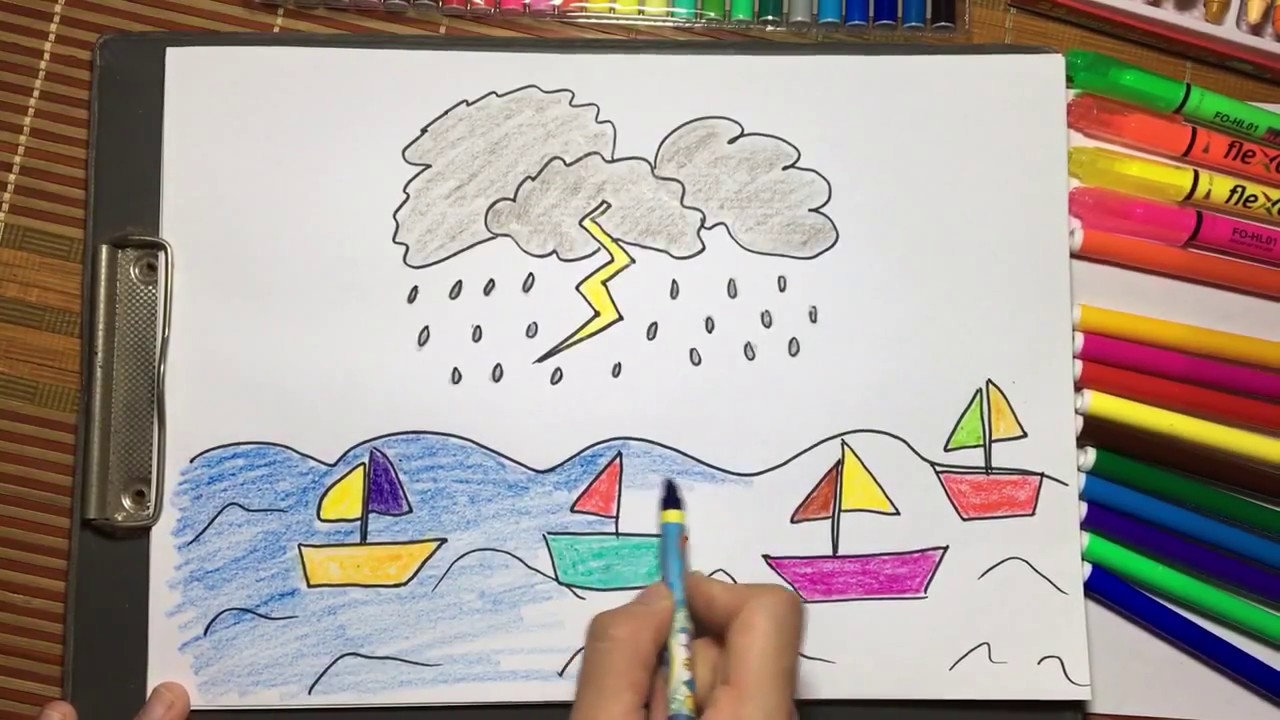 Vẽ thuyền và biển – Drawing boat and sea – Học vẽ cùng Chị Hoa Cười