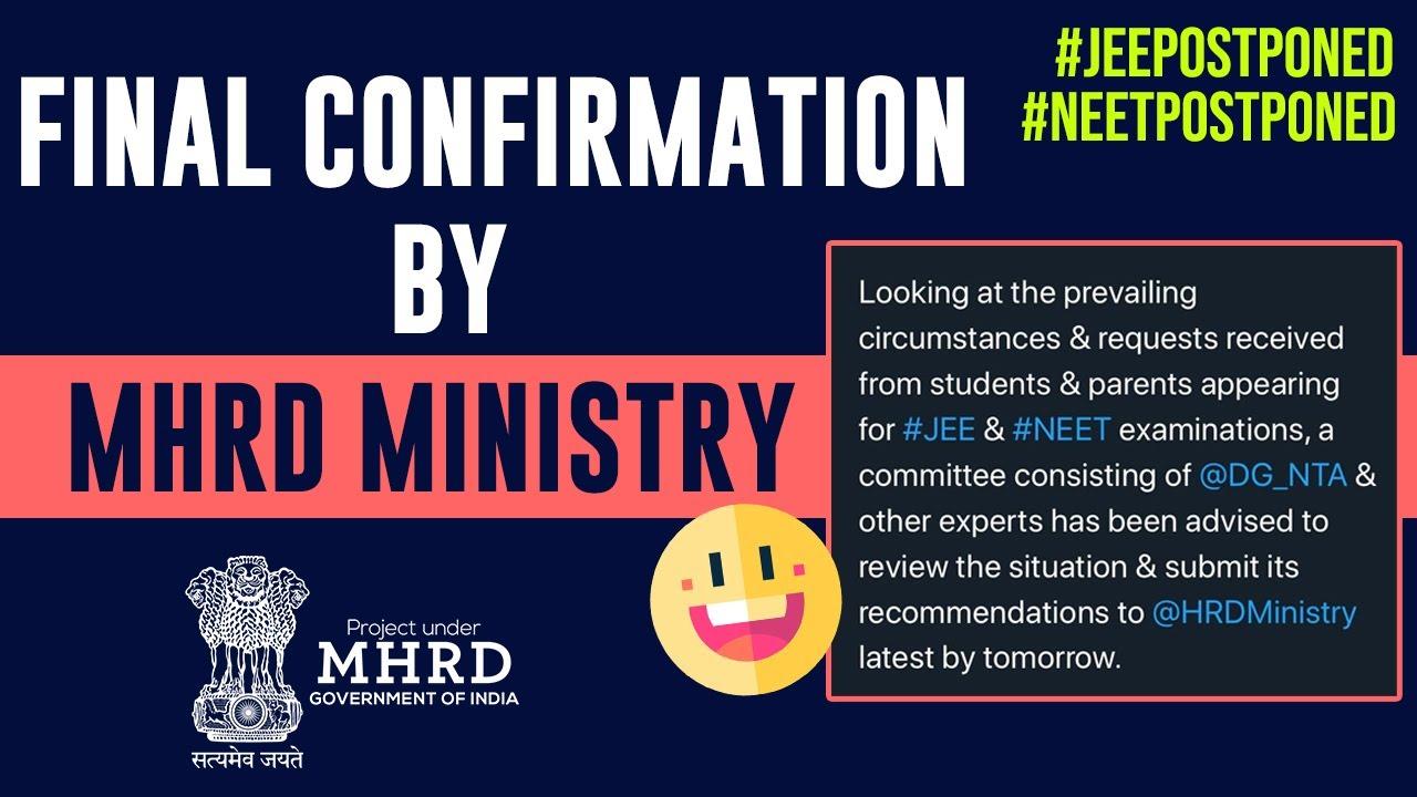 Big Surprise 🔥- Finally HRDMinistry Replied - #Jeeneetpostponed - #rankersjee #jee #neet#latestnews