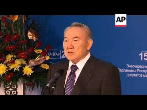 President Nursultan Nazarbayev casts ballot in vote