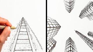 MESMERIZING PERSPECTIVE DRAWING TUTORIAL || 20 Drawing Hacks