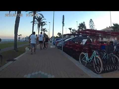 Summer 2017, stepping on the promenade, cycling on the Mediterranean coast of Spain