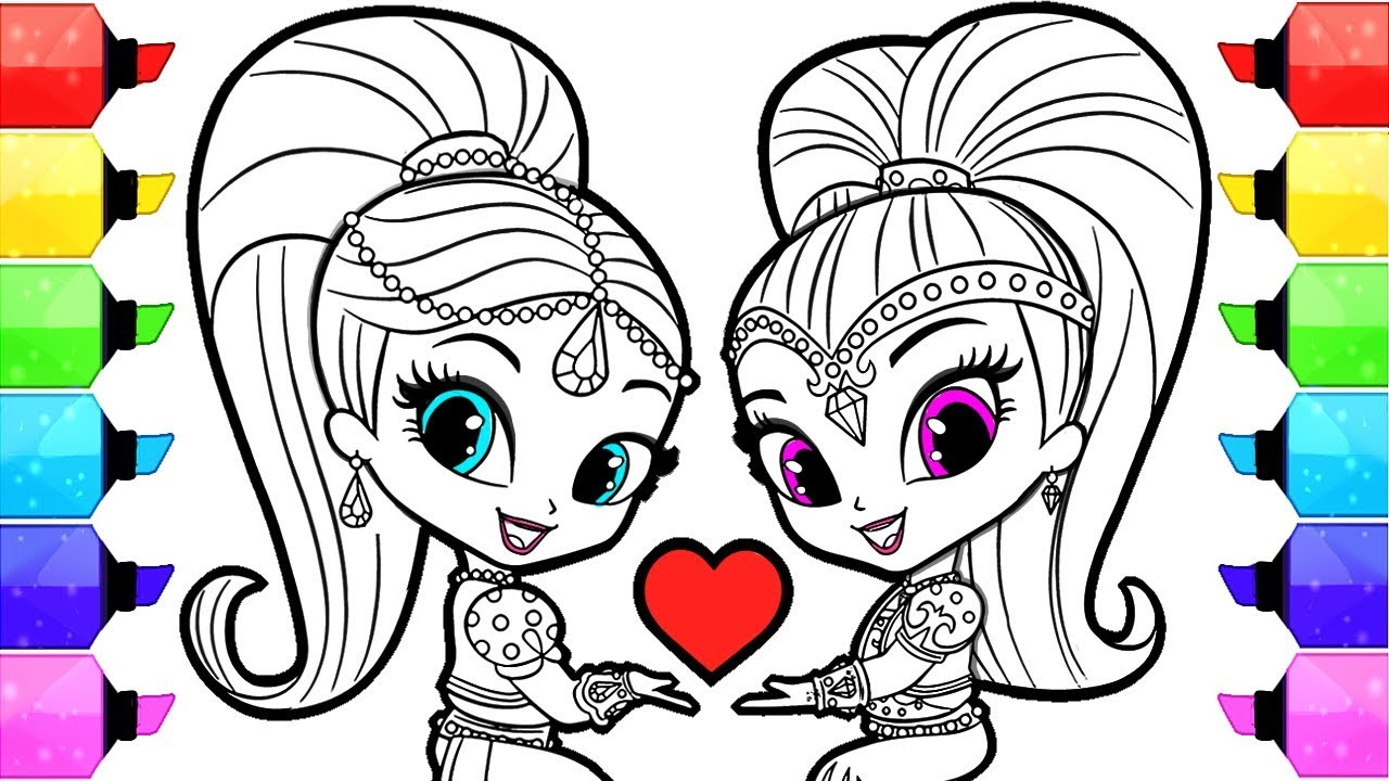 Shimmer And Shine Coloring Pages How To Draw And Color Shimmer