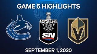 NHL Highlights   2nd Round, Game 5: Canucks vs. Golden Knights - Sept 1, 2020
