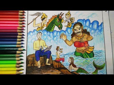 วาดภาพพระอภัยมณี วันสุนทรภู่ How to draw Phra Aphai Mani 2