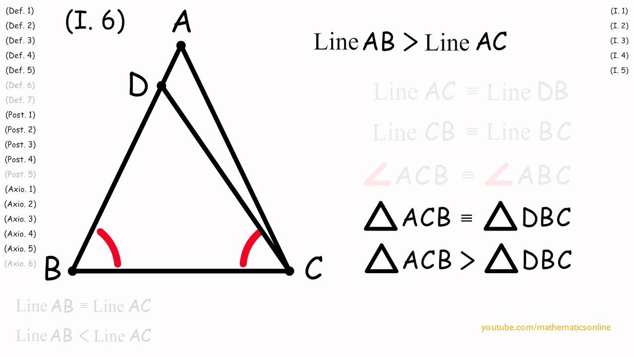 I6 Indirect Proof Converse Of Base Angles Of An Isosceles