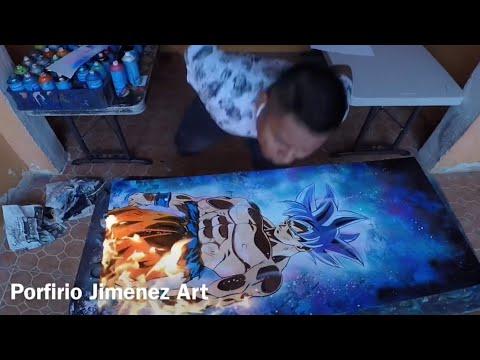Son Goku ultra Instint Spray Paint art - Популярные видеоролики!