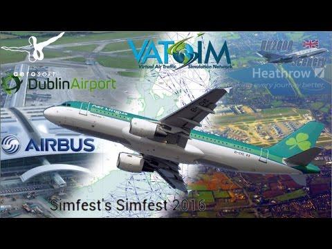 Aerosoft A320 flies Heathrow to Dublin on Vatsim with Simfest Mega Airport tour
