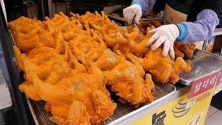 300 проданных в день !! Оригинальная корейская курица с чесноком. / korean street food