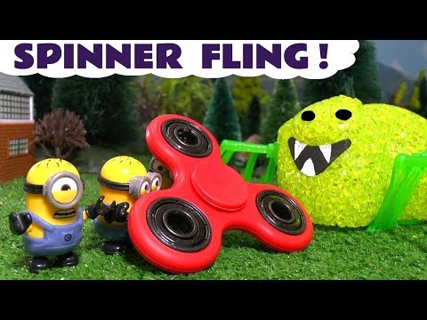 Thumbnail: Minions Fidget Spinner Fling Scary Spider with Thomas The Tank Engine and Dinosaurs kids story TT4U