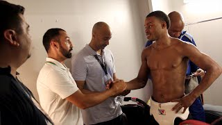 Paulie Malignaggi congratulates Errol Spence backstage after KO victory
