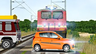 Electric Trains At Unmanned Level Crossing     ND AN RA LWAYS    In Indian Train Simulator