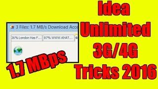 june 2016 idea 3g 4g unlimited trick leaked   1 7mbps max speed   no vpn   proof added