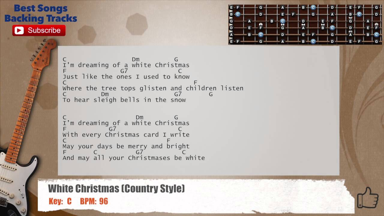 white christmas country version guitar backing track with scale