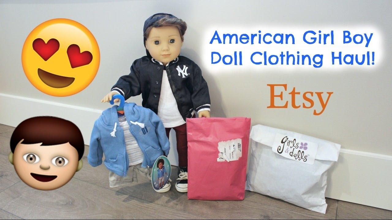 American Girl Logan Boy Doll Clothing Haul Opening