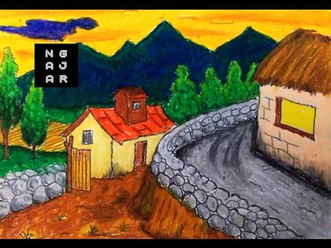 Cara Mewarnai Gradasi Dengan Crayon Pemandangan Sawah Gunung Youtube