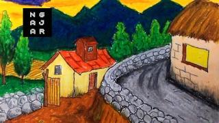 Cara mewarnai gradasi dengan crayon (pemandangan sawah gunung)