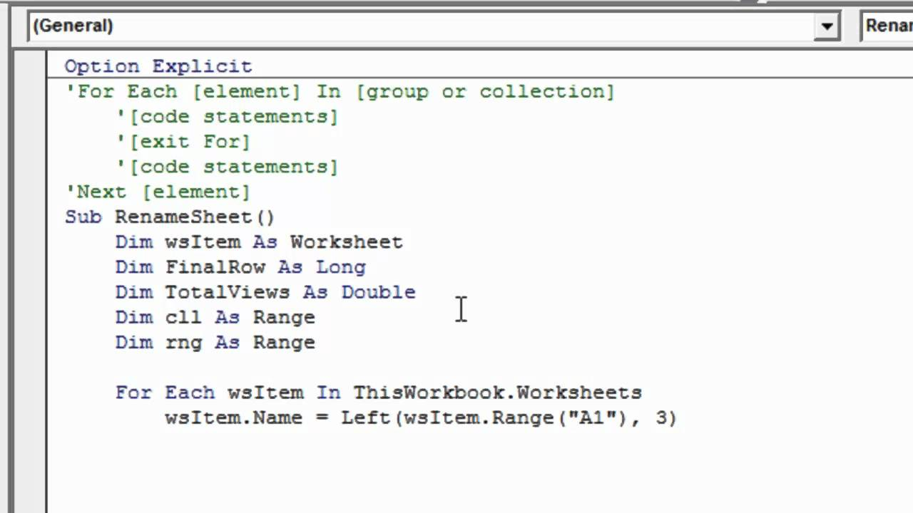 write a loop in vba