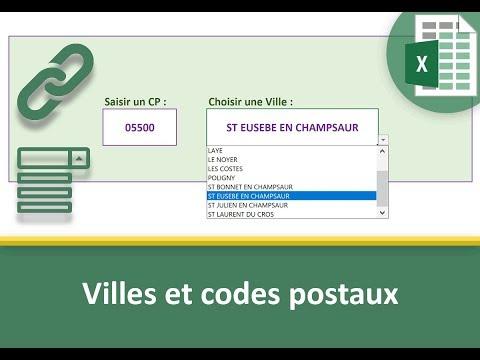 Liste Excel Des Villes Selon Le Code Postal Saisi