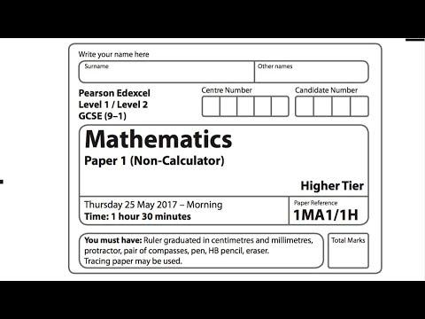 MAY 2017 OFFICIAL Edexcel 9-1 Paper 1 GCSE Maths Higher non-calculator  *part 2*
