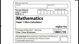 MAY 2017 OFFICIAL Edexcel 9-1 Paper 1 GCSE Maths Higher non-calculator *part 2*